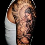 Virgin Mary Black and grey tattoo